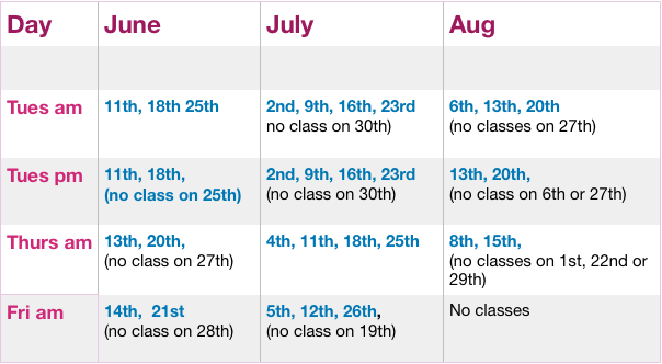 Rowan Yoga Summer Schedule 2019
